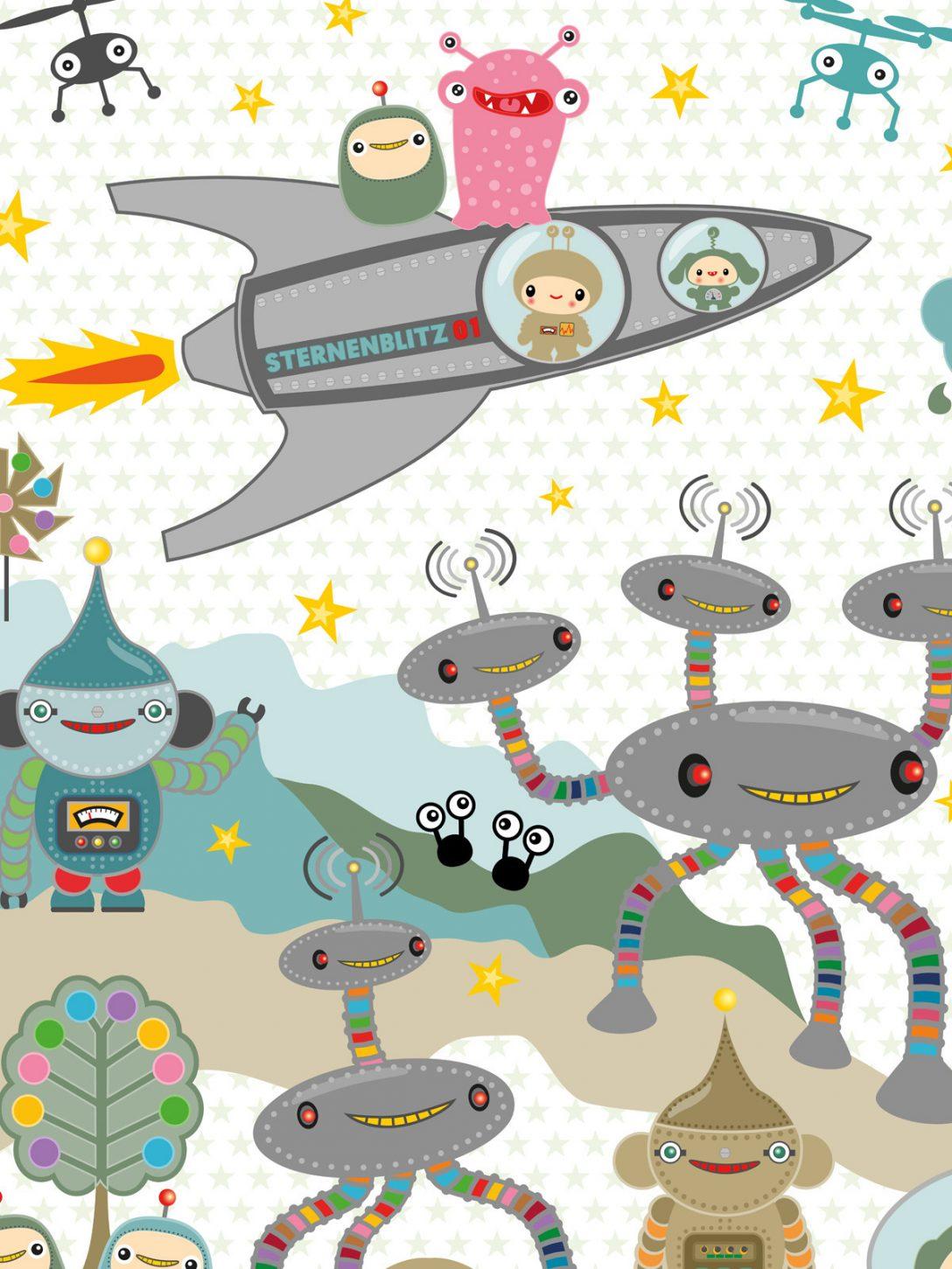 Large Size of Kinderzimmer Tapete Sternenblitz Auf Planet Noxy Miyo Mori Tapeten Für Küche Modern Wohnzimmer Ideen Schlafzimmer Fototapeten Fototapete Regale Regal Weiß Wohnzimmer Kinderzimmer Tapete