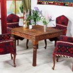 Esstisch Kolonialstil 100x100 Cm Antik Look Orient Massiv Holz Tisch Kleine Esstische Eiche Stühle Grau Ausziehbar Holzplatte Mit Stühlen Set Günstig Esstische Esstisch Kolonialstil
