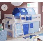 Kinderzimmer Hochbett Califonia In Blau Und Wei Mit Vorhang Regal Weiß Regale Sofa Kinderzimmer Kinderzimmer Hochbett