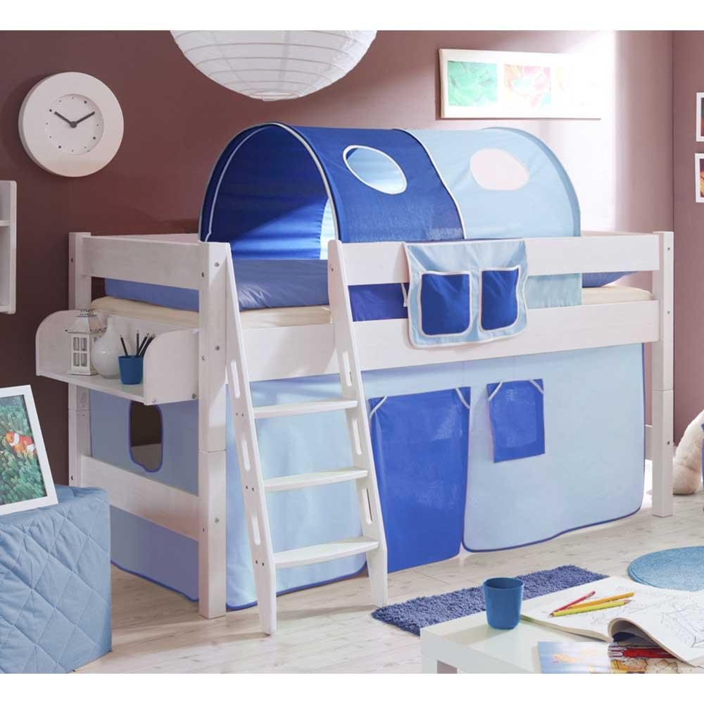Full Size of Kinderzimmer Hochbett Califonia In Blau Und Wei Mit Vorhang Regal Weiß Regale Sofa Kinderzimmer Kinderzimmer Hochbett