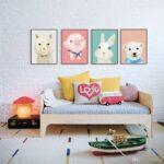 Wandbild Kinderzimmer Kinderzimmer Aquarell Kawaii Tiere Br A4 Kunstdruck Poster Wohnzimmer Regal Sofa Schlafzimmer Regale Weiß Wandbild