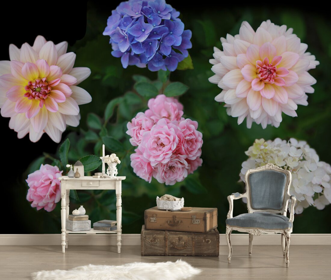Full Size of Fototapete Blumenwiese Blumen Vintage Aquarell Vlies Rosa Weiss Schlafzimmer Kaufen 3d Bunte Komar Rosen Dunkel Fototapeten Küche Wohnzimmer Fenster Wohnzimmer Fototapete Blumen