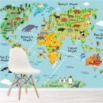 Wandbild Kinderzimmer Kinderzimmer Wandbild Kinderzimmer Tierweltkarte Foto Tapete Wohnkultur Wandbilder Schlafzimmer Regale Wohnzimmer Regal Weiß Sofa