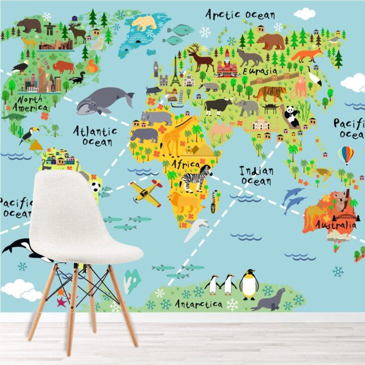 Medium Size of Wandbild Kinderzimmer Tierweltkarte Foto Tapete Wohnkultur Wandbilder Schlafzimmer Regale Wohnzimmer Regal Weiß Sofa Kinderzimmer Wandbild Kinderzimmer