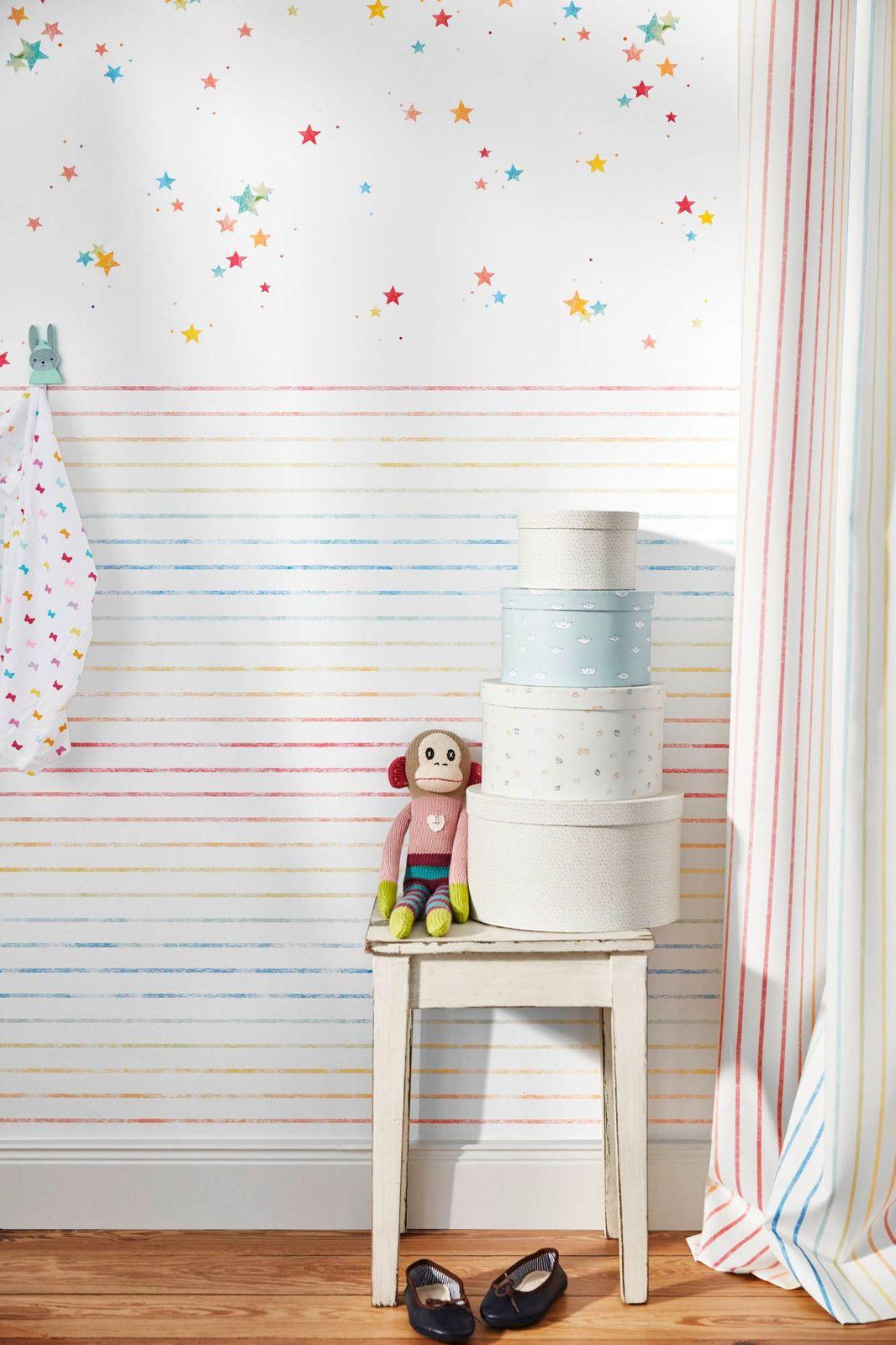 Full Size of Tapeten Für Kinderzimmer Esprit Kids Tapete Sterne Punkte Wei Bunt 35696 2 Spiegelschrank Bad Schlafzimmer Klimagerät Gardinen Wickelbrett Bett Hotel Kinderzimmer Tapeten Für Kinderzimmer