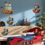 Piraten Kinderzimmer Kinderzimmer Kinderzimmer Wandtattoo Blau Piraten Schiff Regal Sofa Weiß Regale