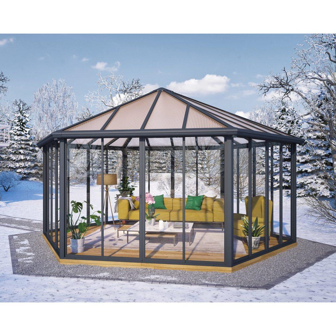 Large Size of Palram Pavillon Garda Grau Geschlossen Kaufen Bei Obi Regale Metall Regal Weiß Bett Wohnzimmer Gartenpavillon Metall