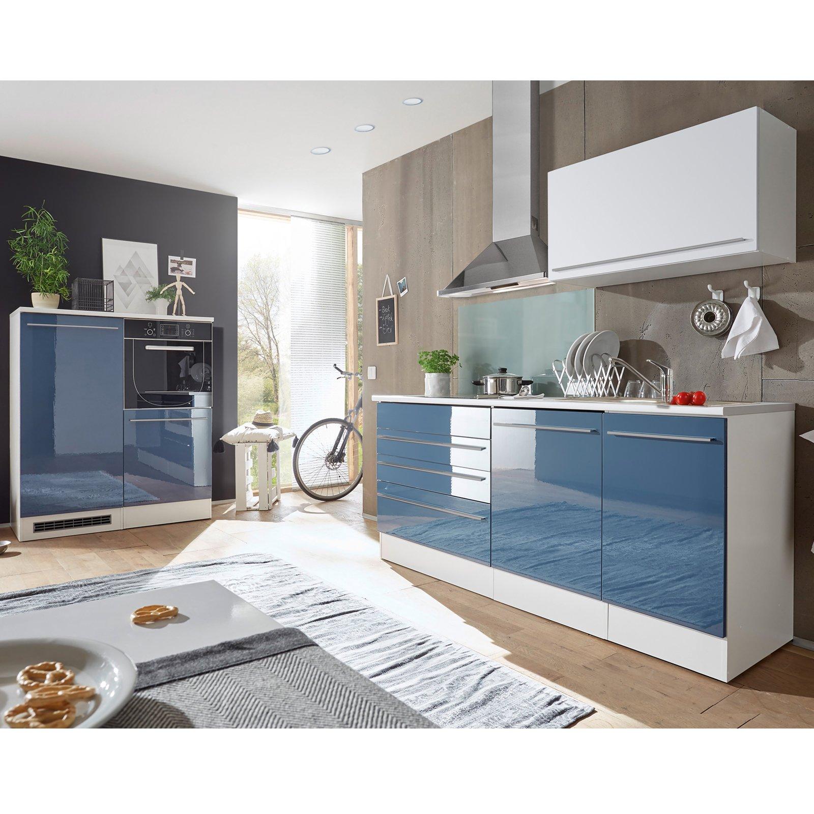 Full Size of Roller Küchen Kchenblock Blau Hochglanz Wei Matt 320 Cm Online Bei Regale Regal Wohnzimmer Roller Küchen