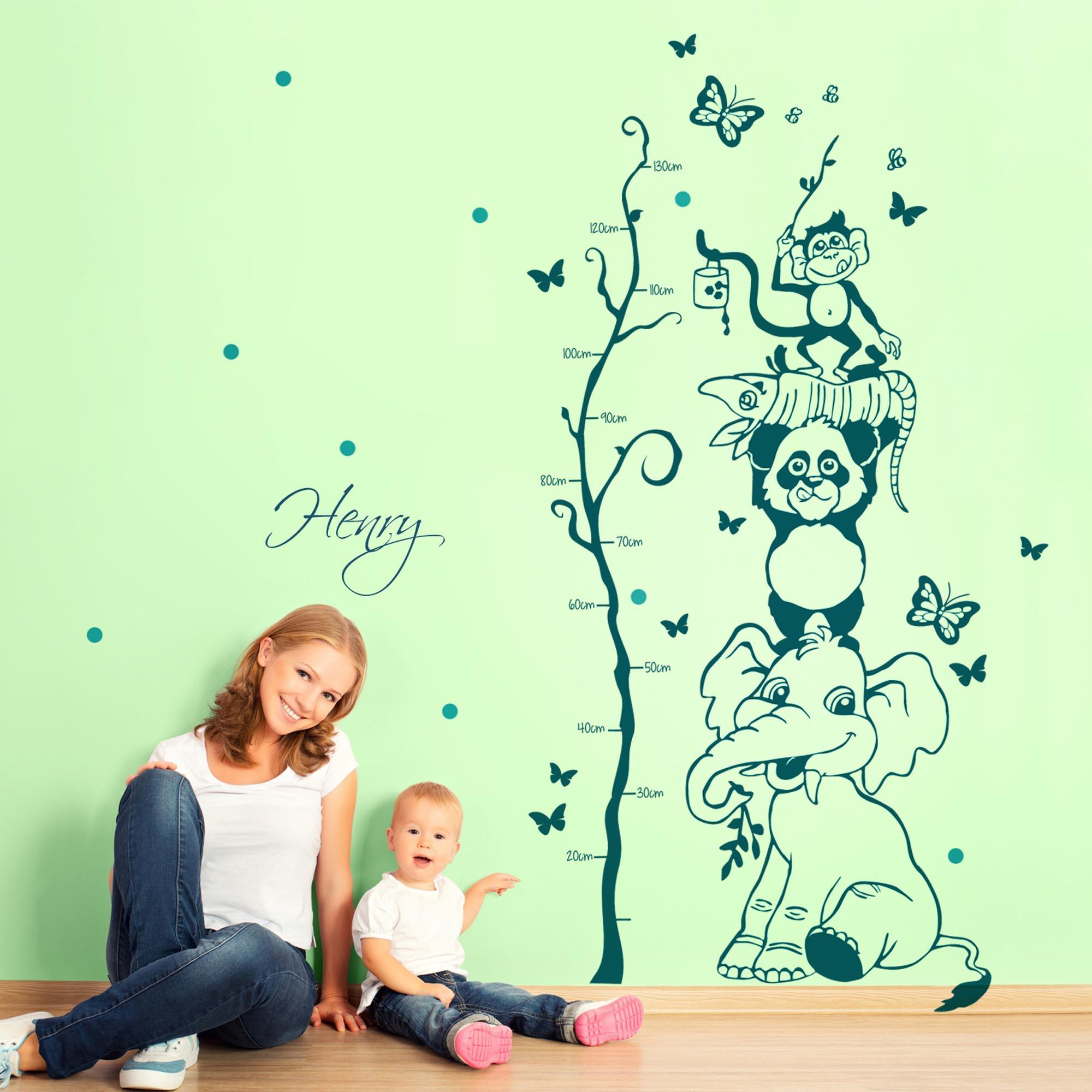 Full Size of Messlatte Kinderzimmer Wandtattoo Dschungel Tiere Baum Mit Wunschnamen Und Regal Weiß Sofa Regale Kinderzimmer Messlatte Kinderzimmer
