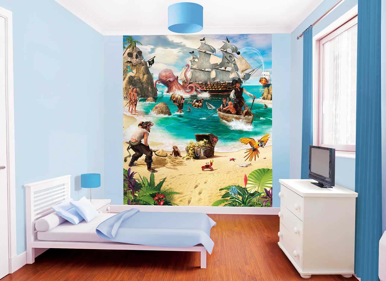 Full Size of Fototapete Kinderzimmer Piraten Schatzinsel Tapetenwelt Regal Weiß Regale Sofa Kinderzimmer Piraten Kinderzimmer