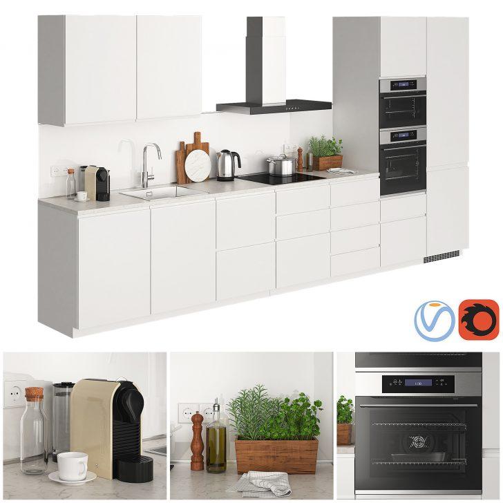 Medium Size of Schrankküche Ikea Metod Voxtorp Glossy White 3d Modell Turbosquid 1367448 Küche Kaufen Kosten Sofa Mit Schlaffunktion Miniküche Betten 160x200 Bei Wohnzimmer Schrankküche Ikea