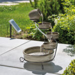 Gartenbrunnen Solar Wohnzimmer Gartenbrunnen Solar Kaskadenbrunnen Mit Akku Led Springbrunnen
