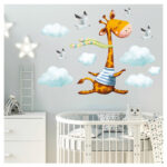 Wandbild Kinderzimmer Wandtattoo Giraffe Wolken Wanddeko Regal Regale Sofa Wandbilder Schlafzimmer Wohnzimmer Weiß Kinderzimmer Wandbild Kinderzimmer