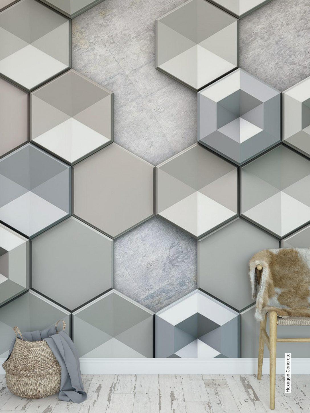 Large Size of Tapete Hexagon Concrete Tapetenagenturde Tapeten Schlafzimmer Für Küche Wohnzimmer Ideen Fototapeten Die Wohnzimmer 3d Tapeten