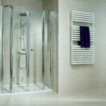 Pendeltür Dusche 90x90 Unterputz Armatur Wand Einhebelmischer Glasabtrennung Grohe Thermostat Rainshower Bidet Bluetooth Lautsprecher Ebenerdige Dusche Pendeltür Dusche