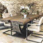 Designer Esstisch Mit Massiver Tischplatte Der Tischonkel Nussbaum Esstische Holz Rustikal Grau 4 Stühlen Günstig Lampen Oval Weiß Industrial Esstische Designer Esstisch