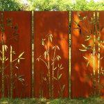 Gartenwand Sichtschutz Triptychon Bambus Rost Stahl 225x195 Cm Sichtschutzfolien Für Fenster Bett 120x200 Mit Matratze Und Lattenrost 140x200 90x200 Betten Wohnzimmer Sichtschutz Rost