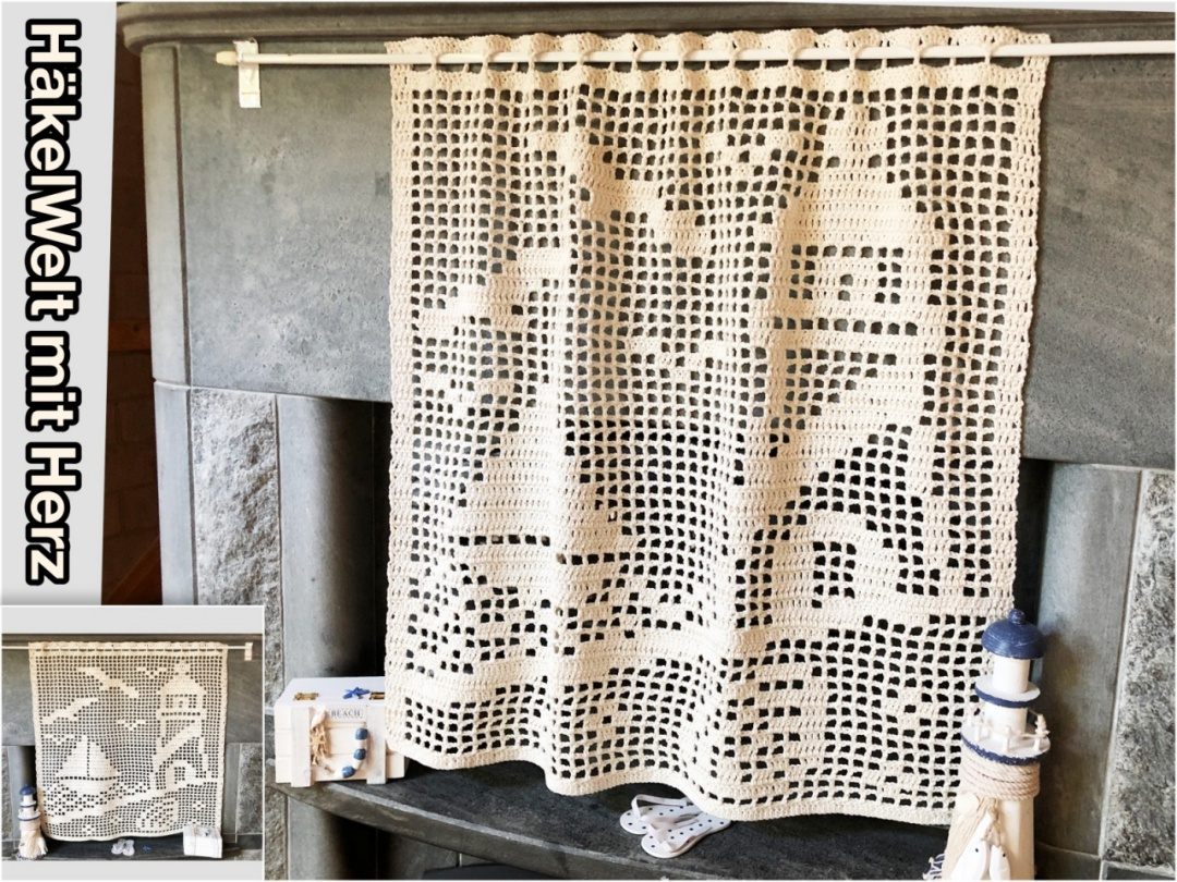 Full Size of Gardine Hkeln Maritimes Motiv Gardinen Schlafzimmer Für Wohnzimmer Die Küche Fenster Wohnzimmer Gardine Häkeln