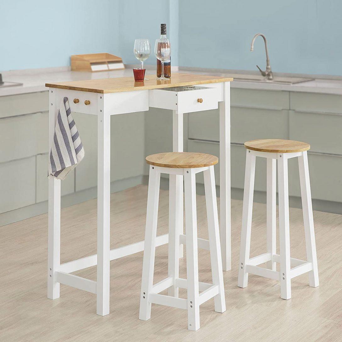 Large Size of Küchenbartisch Sobuy Fwt50 Wn Bartisch Set 3 Teilig Stehtisch Mit Haken Und Wohnzimmer Küchenbartisch