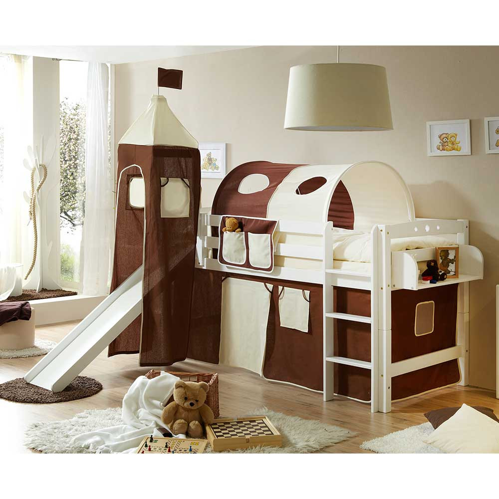 Full Size of Kinderzimmer Massivholz Hochbett In Wei Aus Buche Mit Rutsche Ceoni Regal Weiß Regale Sofa Kinderzimmer Kinderzimmer Hochbett