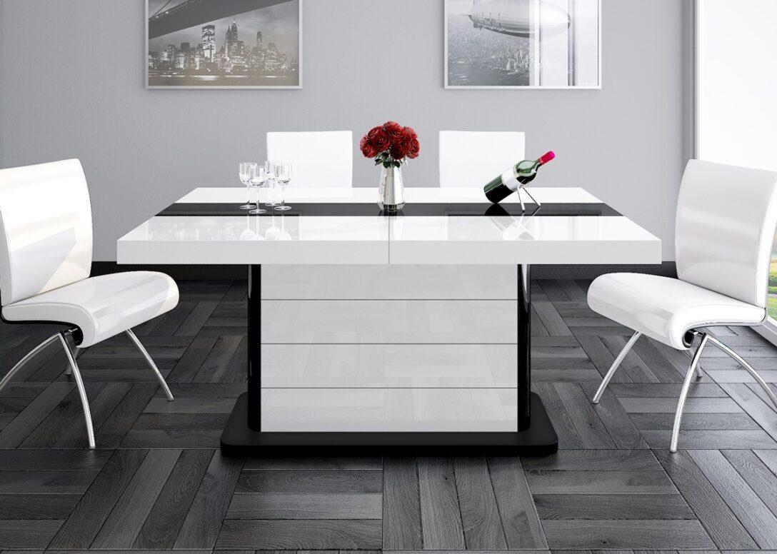 Large Size of Esstisch Weiß Ausziehbar Design Tisch He 555 Wei Schwarz Hochglanz Ausziehbarer Runder Esstischstühle Badezimmer Hochschrank Eiche Massiv Großer Esstische Esstische Esstisch Weiß Ausziehbar