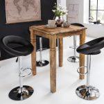 Küchenbartisch Finebuy Stehtisch Rusti 80 110 80cm Mango Echt Holz Wohnzimmer Küchenbartisch