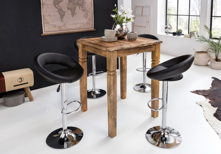 Medium Size of Küchenbartisch Finebuy Stehtisch Rusti 80 110 80cm Mango Echt Holz Wohnzimmer Küchenbartisch