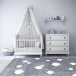 Kinderzimmer Teppiche Teppich 120x180 160x230 Grau Wei Wolke Regal Weiß Regale Sofa Wohnzimmer Kinderzimmer Kinderzimmer Teppiche
