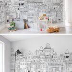 Kinderzimmer Wanddeko Kinderzimmer Kinderzimmer Wanddeko London Houses Tapete Küche Sofa Regal Regale Weiß