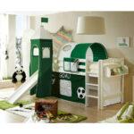 Hochbett Kinderzimmer Kinderzimmer Rutsche Hochbett Aus Buche In Wei Mit Fuball Motiv Grn Regale Kinderzimmer Regal Weiß Sofa