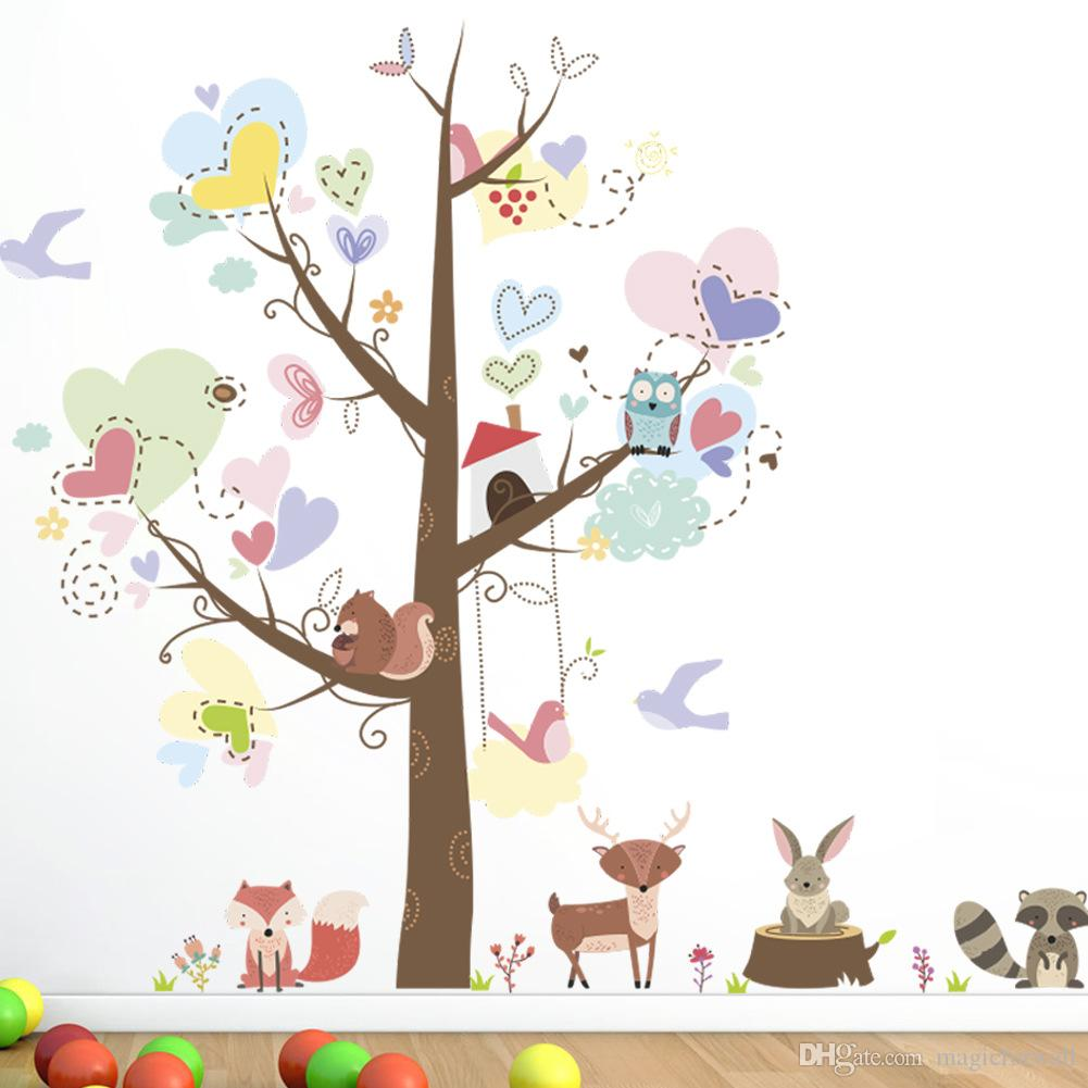Full Size of Wandtattoo Tiere Bunter Baum Mit Liebe Herzform Bltter Cartoon Sprüche Wandtattoos Wohnzimmer Bad Regal Schlafzimmer Weiß Regale Küche Sofa Kinderzimmer Wandtattoo Kinderzimmer Tiere