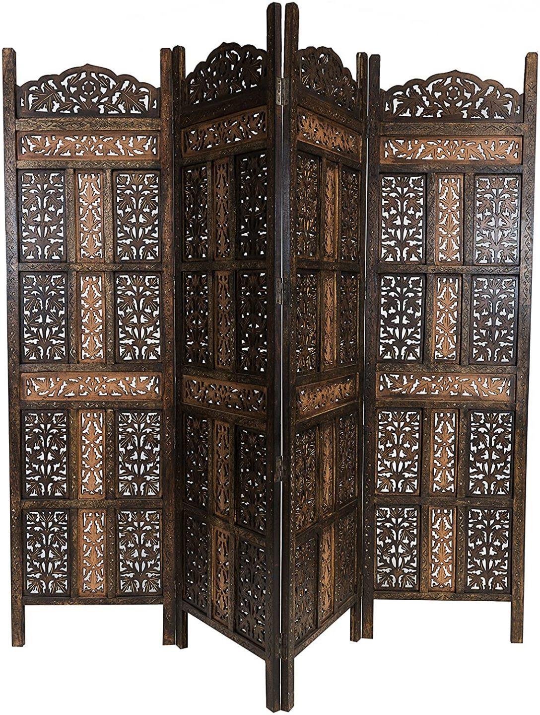 Large Size of Paravent Terrasse Orientalischer Raumteiler Aus Holz Krishna 200 180cm Garten Wohnzimmer Paravent Terrasse