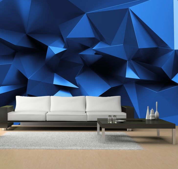 Medium Size of Vlies Tapete Fototapete 3d Zacken Dreiecke Blau Muster Mehr Fototapeten Wohnzimmer Küche Schlafzimmer Fenster Wohnzimmer 3d Fototapete