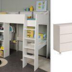 Hochbett Kinderzimmer Kinderzimmer Kinderzimmer Set 2 Tlg Inkl 90x200 Hochbett U Kommode 3 Regal Weiß Regale Sofa