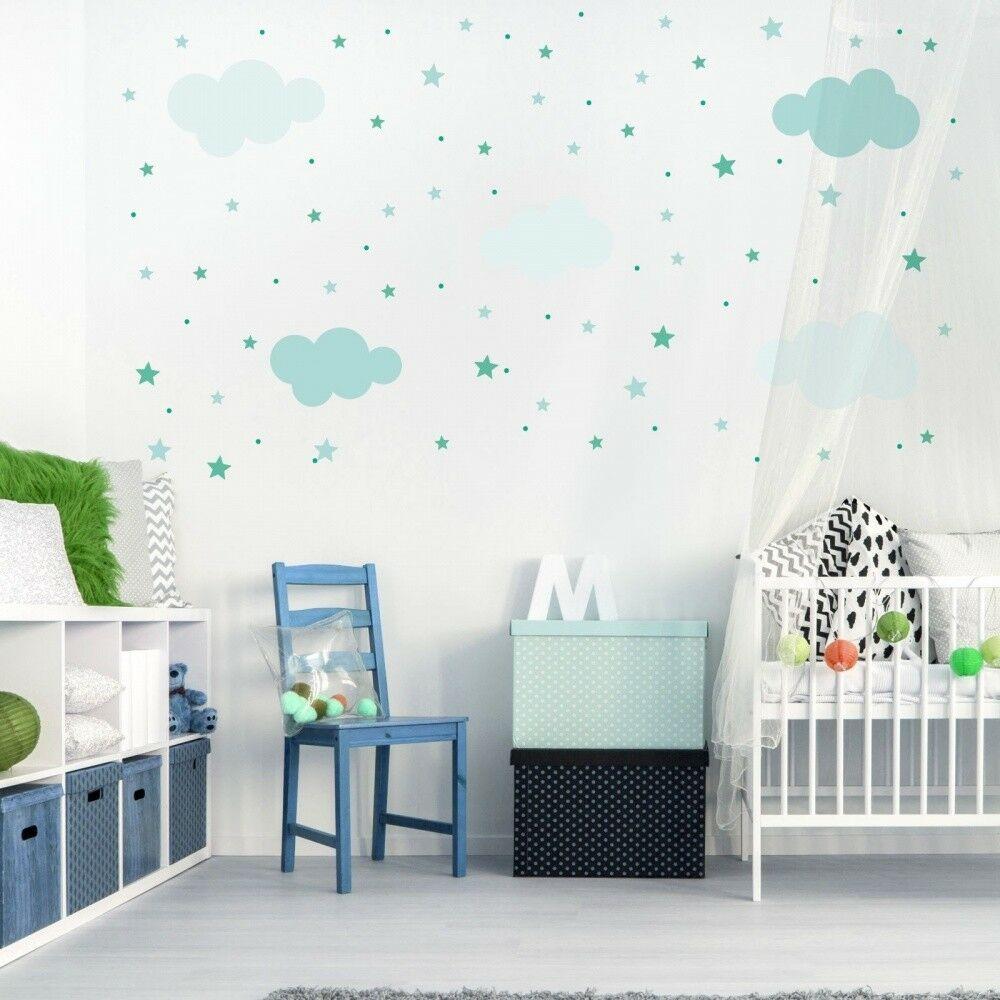 Full Size of Wandsticker Kinderzimmer Junge 142 Wandtattoo Wolken Sterne Punkte Set Mint Wei Küche Regal Weiß Sofa Regale Kinderzimmer Wandsticker Kinderzimmer Junge