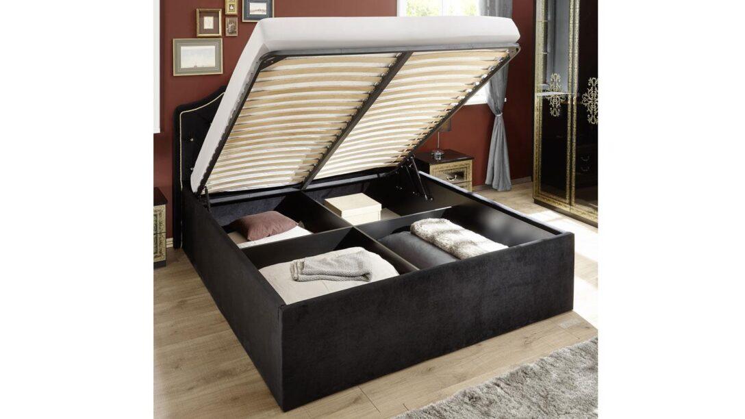 Large Size of Klappbares Doppelbett Eliza Schwarz Samt 180x200 Cm Stauraumbett Ausklappbares Bett Wohnzimmer Klappbares Doppelbett