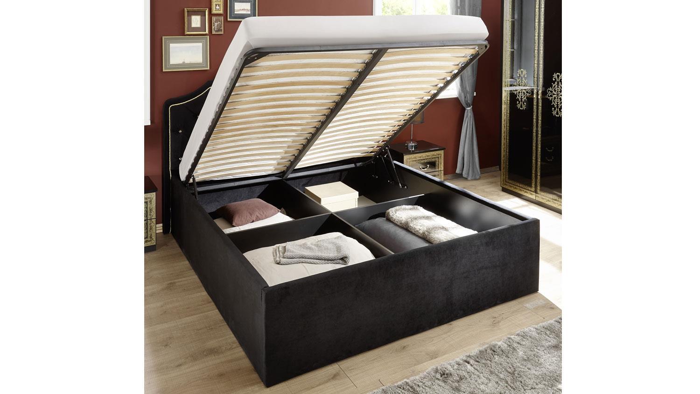 Full Size of Klappbares Doppelbett Eliza Schwarz Samt 180x200 Cm Stauraumbett Ausklappbares Bett Wohnzimmer Klappbares Doppelbett