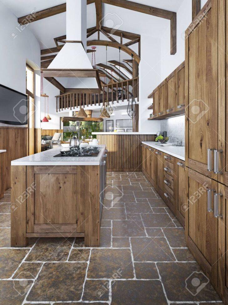 Medium Size of Küchen Rustikal Groe Schne Kche In Einem Rustikalen Stil Mit Einer Insel Und An Regal Küche Esstisch Holz Rustikaler Rustikales Bett Wohnzimmer Küchen Rustikal