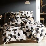 Moderne Mako Satin Bettwsche Geometrisch Schwarz Taupe 155x220 Bettwäsche Sprüche Wohnzimmer Bettwäsche 155x220
