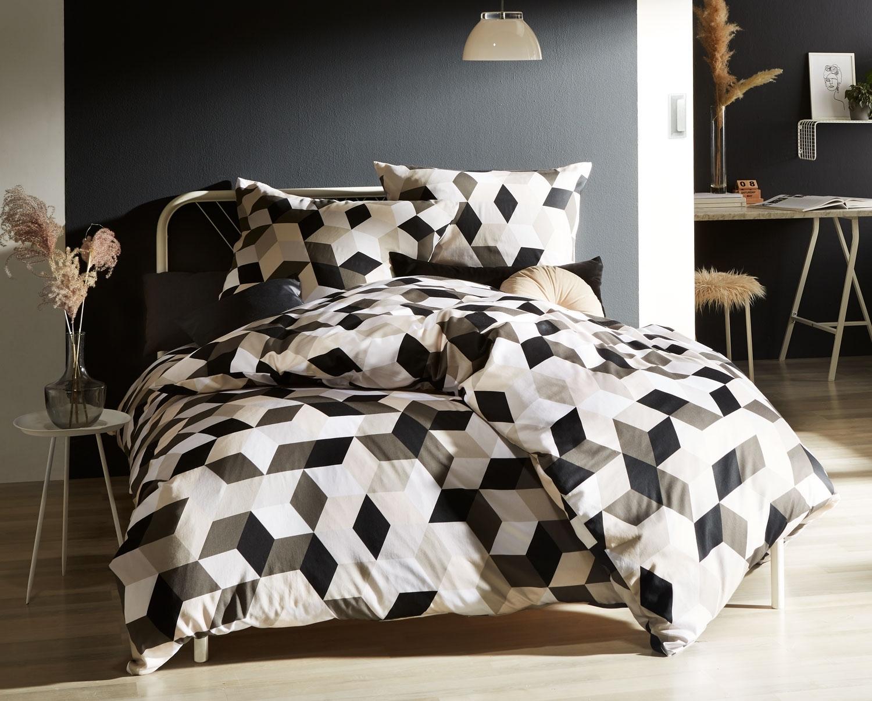 Full Size of Moderne Mako Satin Bettwsche Geometrisch Schwarz Taupe 155x220 Bettwäsche Sprüche Wohnzimmer Bettwäsche 155x220