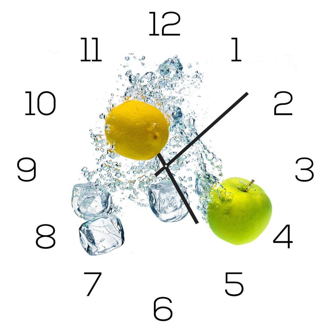 Large Size of Küchen Glasbilder Wanduhr Aus Glas 30x30cm Uhr Als Glasbild Kche Apfel Zitrone Regal Bad Küche Wohnzimmer Küchen Glasbilder