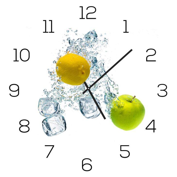 Medium Size of Küchen Glasbilder Wanduhr Aus Glas 30x30cm Uhr Als Glasbild Kche Apfel Zitrone Regal Bad Küche Wohnzimmer Küchen Glasbilder