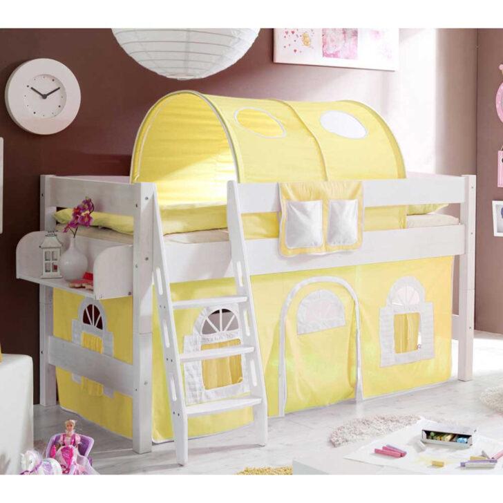 Medium Size of Halbhohes Bett Pisaldo Fr Kinderzimmer Mit Tunnel Und Vorhang In Gelb Wohnzimmer Halbhohes Hochbett