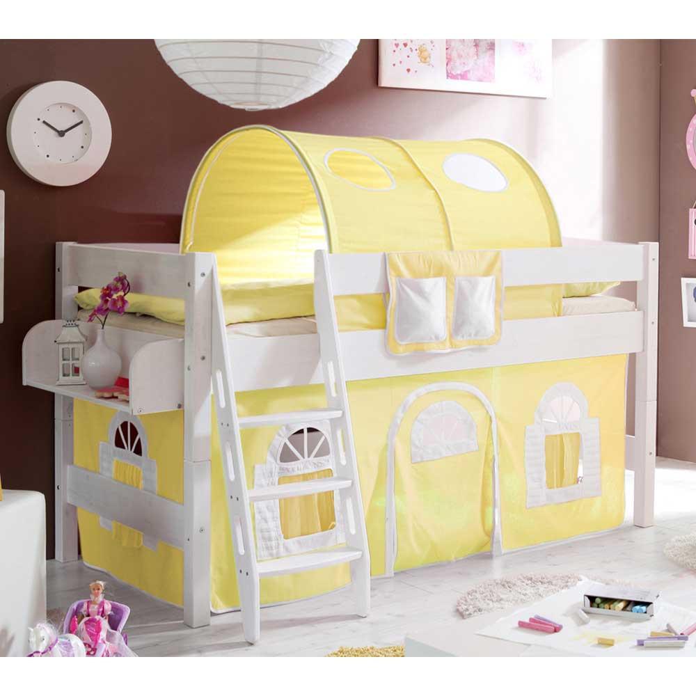 Full Size of Halbhohes Bett Pisaldo Fr Kinderzimmer Mit Tunnel Und Vorhang In Gelb Wohnzimmer Halbhohes Hochbett