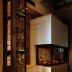 Holzlege Cortenstahl Kamin Und Ofengestaltung Wohnzimmer Holzlege Cortenstahl