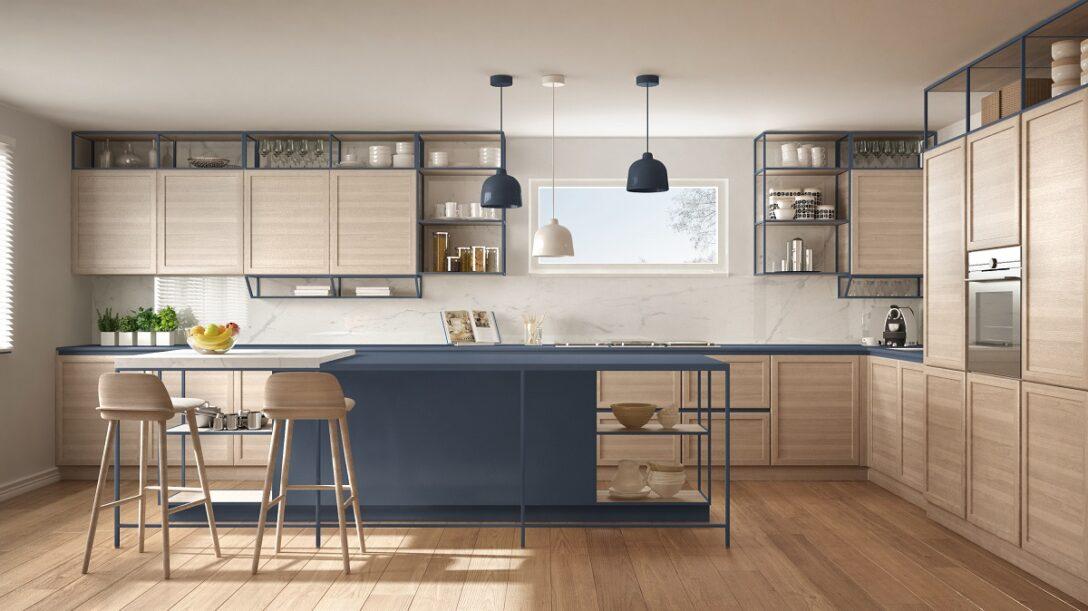 Large Size of Offenes Regal Küche Blaue Kchen Kchendesignmagazin Lassen Sie Sich Inspirieren Auf Raten Modulküche Apothekerschrank Müllsystem Badezimmer Einbauküche Wohnzimmer Offenes Regal Küche