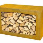 Yerd Holzbocorten Stahl Kaminholz Regal Wohnzimmer Holzlege Cortenstahl