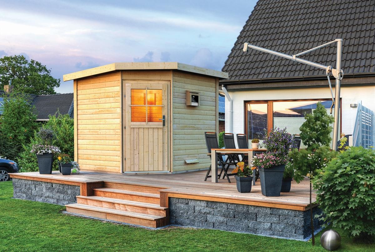 Full Size of Außensauna Wandaufbau Saunahaus Pirva Online Kaufen Karibu Wohnzimmer Außensauna Wandaufbau