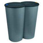 Doppel Mlleimer Abfalleimer Duo Silber 225 Liter Einbau Mülleimer Küche Doppelblock Wohnzimmer Doppel Mülleimer