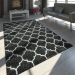 Teppich Schwarz Weiß Marokkanisches Muster Teppichcenter24 Schlafzimmer Landhausstil Esstisch Oval Regal Holz Betten Sofa Grau Hochglanz Bett Mit Schubladen Wohnzimmer Teppich Schwarz Weiß